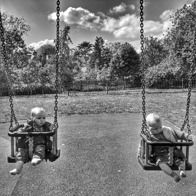 First experience of swings. #unimpressed #POTD