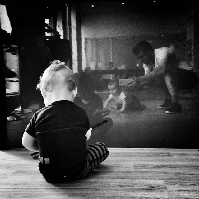 "#Reflections in the @OaktreeActon coffee bar. ""A""  making a b-line for her bro. #POTD"