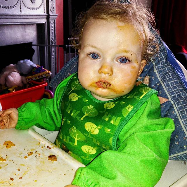 """A"" really liked her #meatballs today. #BabyLedWeaning #twinsofinstagram #POTD"