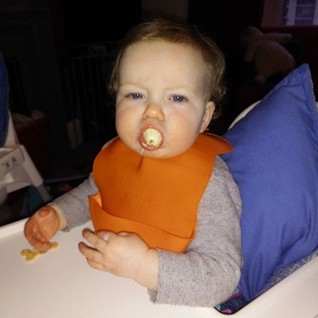 """A"" REALLY likes banana.... All in one go. #OneYearOldProblems #babygram #POTD"