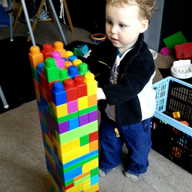 Micro #KingKong destroys the tower! #twinsofinstagram #toddlers #POTD