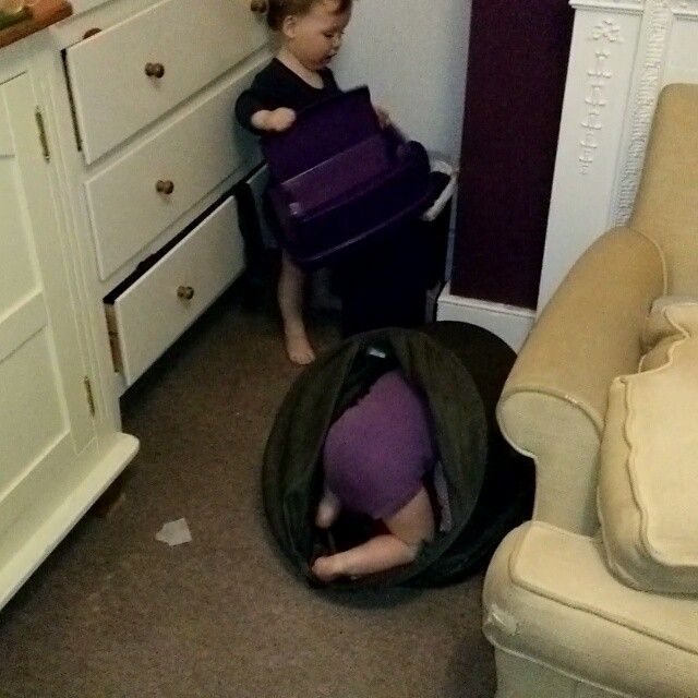 "Our children make they own fun! ""O"" is playing with the nappy bin while ""A"" plays in the laundry. #twins #twinsofinstagram #ProudDad #MakeYourOwnFun #POTD"