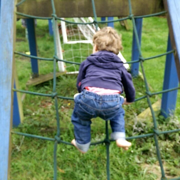 This little champion climbing all on his own!
